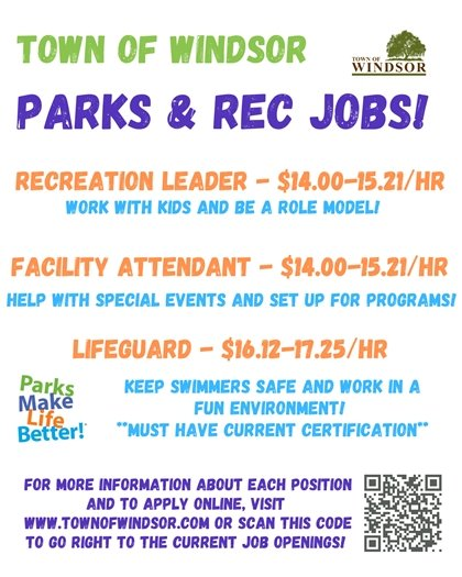 Part-time jobs available at Windsor's Parks and Rec Department