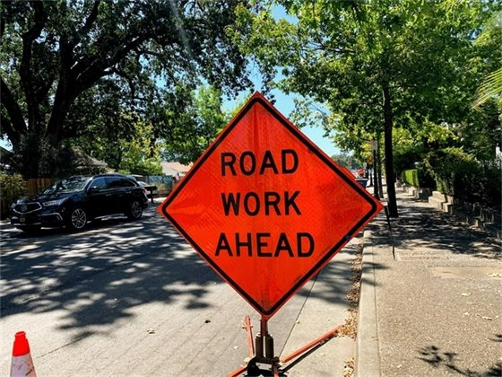 Sign that says Road Work Ahead